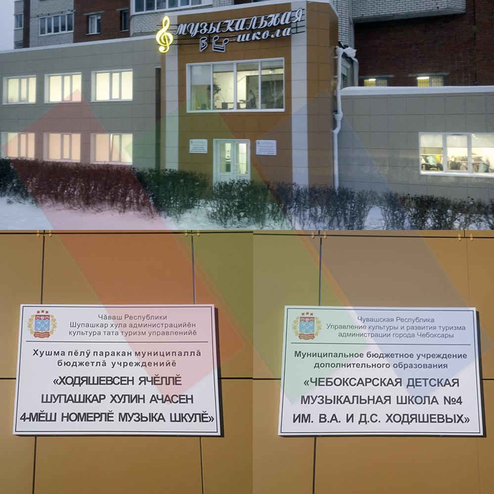 Информационная табличка (доска) на фасаде здания музыкальной школы